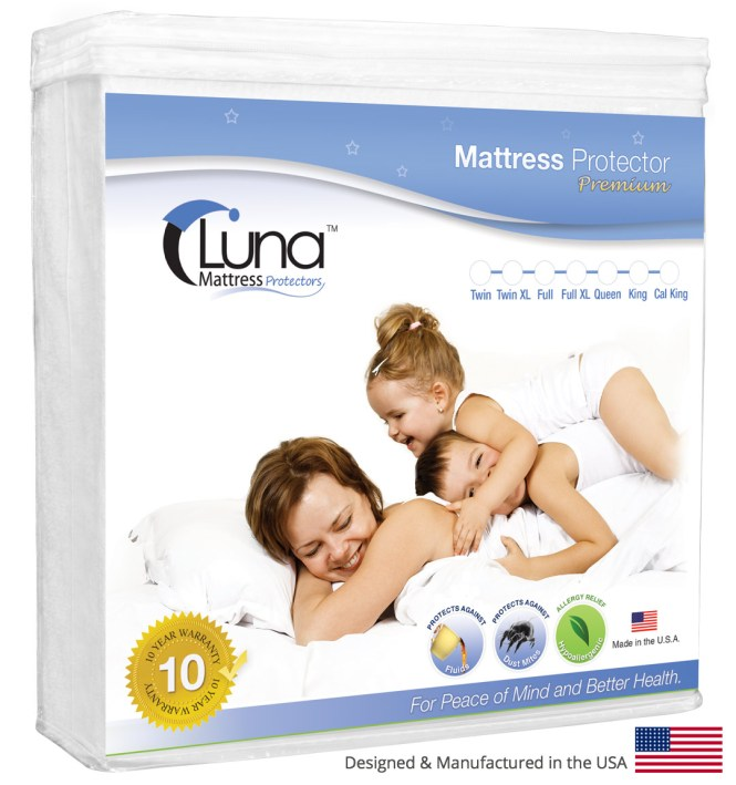 Luna Premium Hypoallergenic Waterproof Mattress Protector Multiple Sizes Made In The Usa Vinyl Free