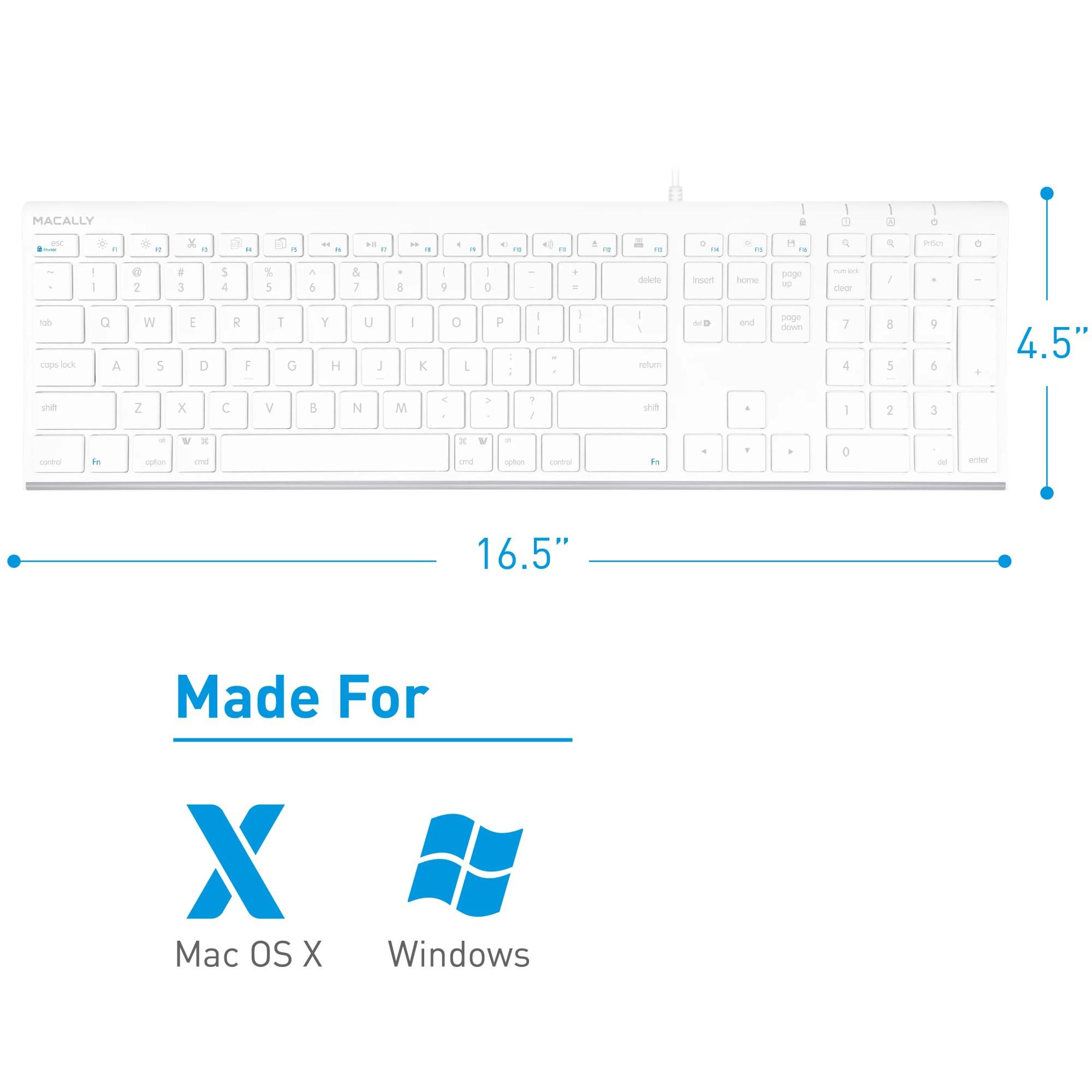 hight resolution of macally ultra slim usb wired computer keyboard for apple mac pro macbook pro air imac mac mini laptop windows pc laptop acekey walmart com