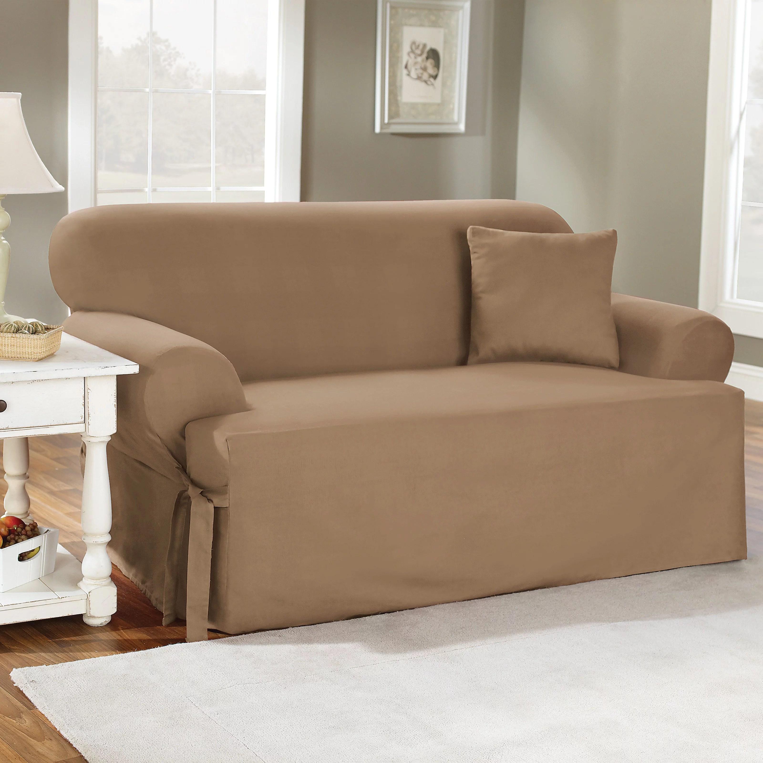 Sure Fit CVC Duck T Cushion Sofa Cover Walmart Com