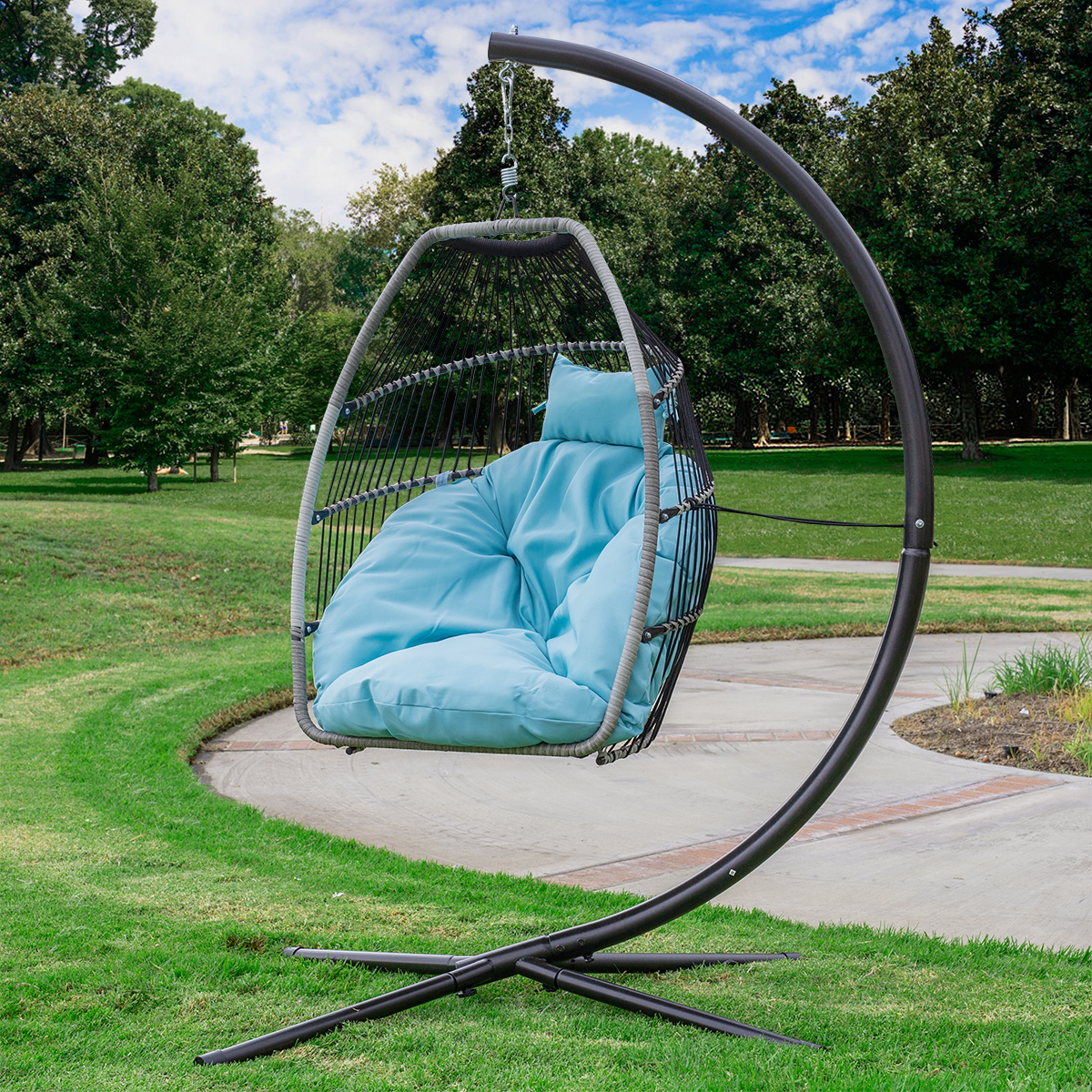 barton premium hanging egg swing chair uv resistant fluffy cushion large basket style patio seating blue
