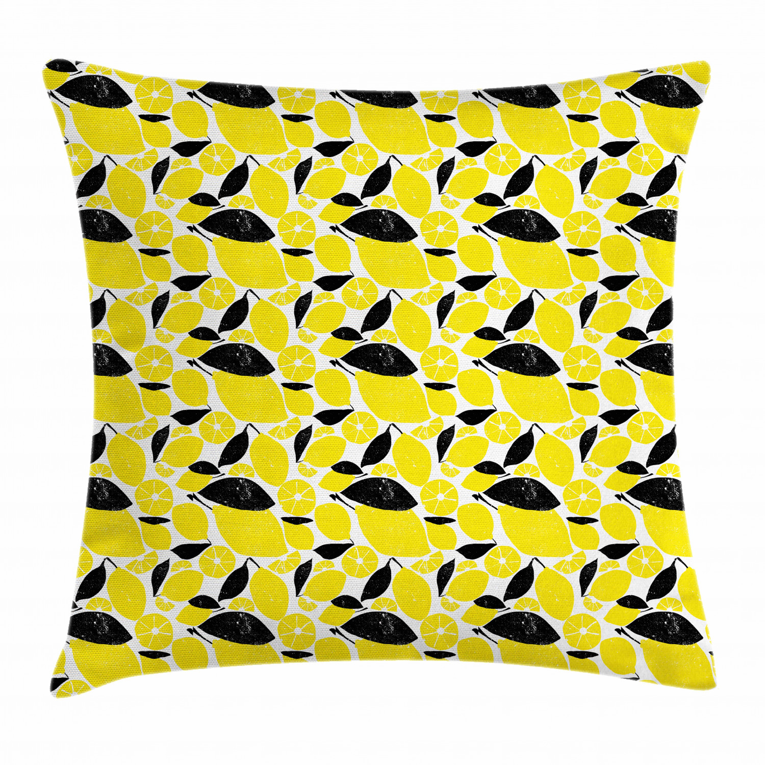lemons throw pillow cushion cover summer breeze sketched yellow lemon figures and skinless half slices decorative square accent pillow case 18 x 18