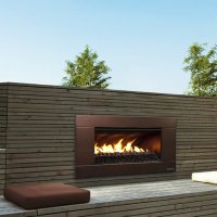 Escea Ferro Bronze Outdoor Gas Fireplace Insert - Black ...