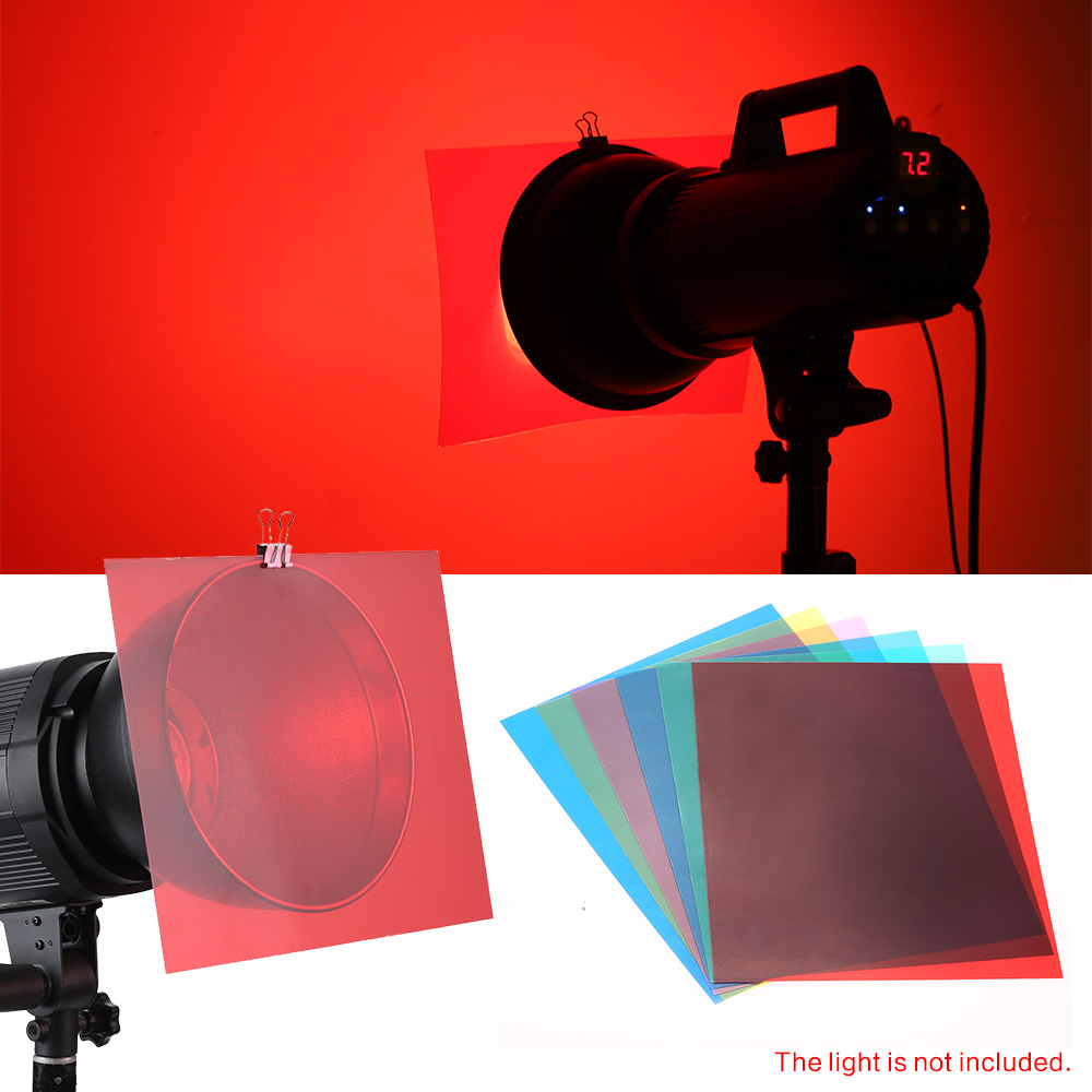 6pcs 25 20cm transparent lighting color correction gel sheets filters set for flash light speedlite red blue green cyan yellow magenta