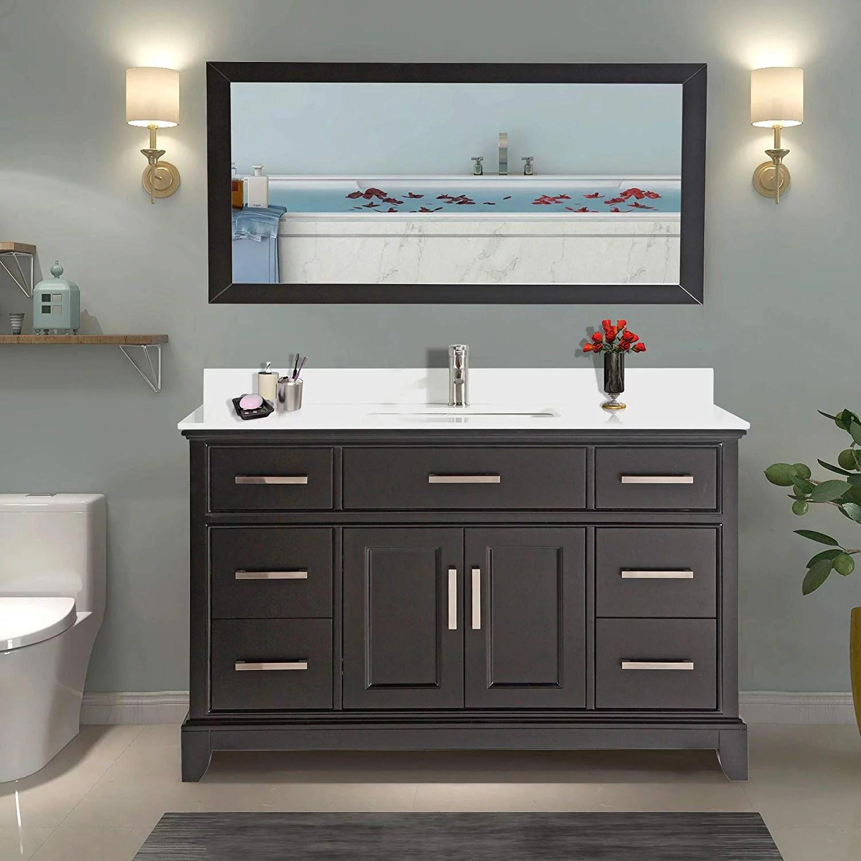 vanity art 60 single sink bathroom vanity combo set 7 drawers 1 shelf super white phoenix stone top under sink cabinet with mirror va1060 e