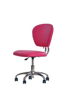New Pink PU Leather Mid-Back Mesh Task Chair Office Desk ...