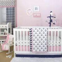 The Peanut Shell 3 Piece Baby Crib Bedding Set - Navy Blue ...