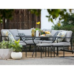 Belham Living Parkville Metal Sofa Sectional Patio Dining Set Modern Black And Red