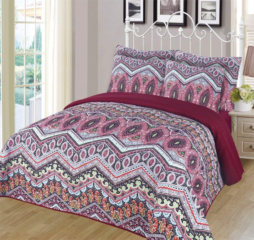 Orly'sDream 6-piece Super Soft Queen Size Pinsonic Quilted Reversible Bedspread Set - Ava - Walmart.com