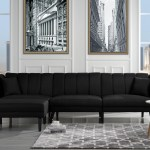 Mid Century Style Sectional Couch Sleeper Futon Reclining Black Walmart Com Walmart Com