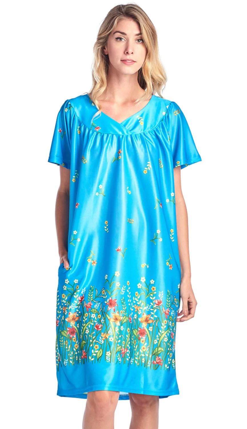 casual nights women s short sleeve muumuu lounger dress teal x large