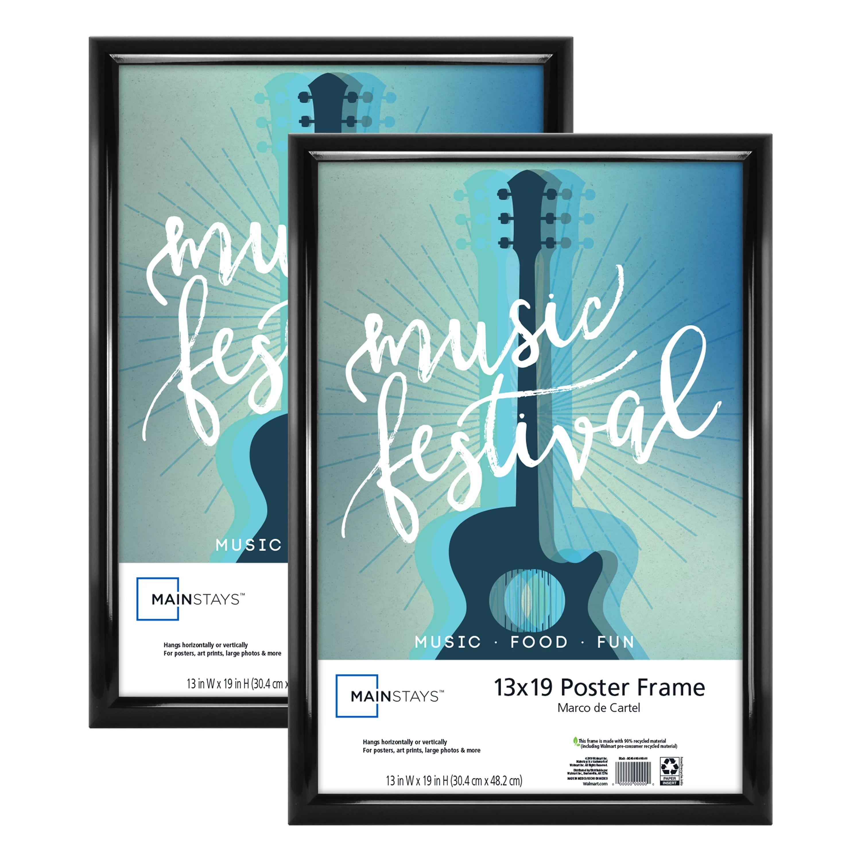 mainstays 13x19 trendsetter poster and picture frame black set of 2 walmart com