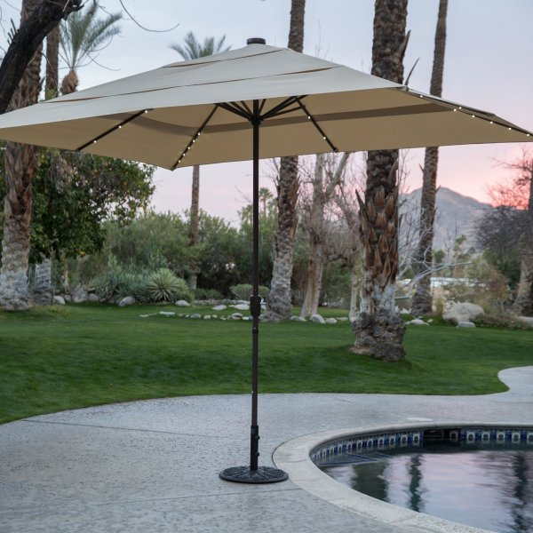 Coral Coast 8 X 11 Ft. Rectangular Aluminum Market Solar Lighted Patio Umbrella