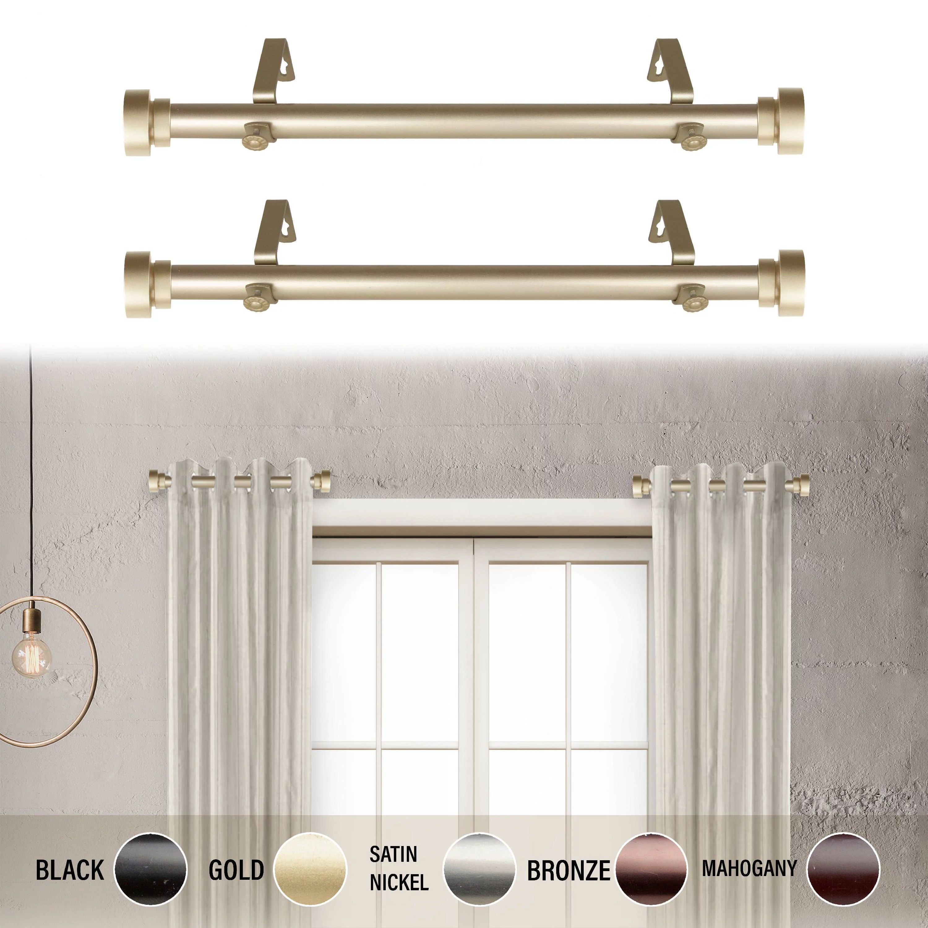 1 dia side curtain rod 12 20 inch long set of 2 gold