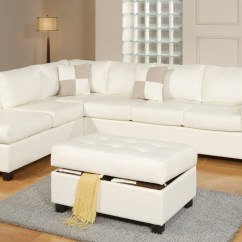 White Bonded Leather Sectional Sofa Set With Light Bed Mattress Replacement Bobkona Soft Touch Reversible Match 3 Piece Walmart Com
