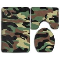 GOHAO Dark Brown Camouflagepng 3 Piece Bathroom Rugs Set ...
