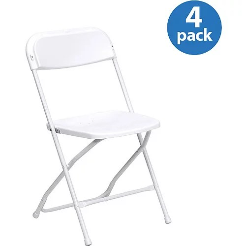 HERCULES Series Premium Plastic Folding Chair White Set