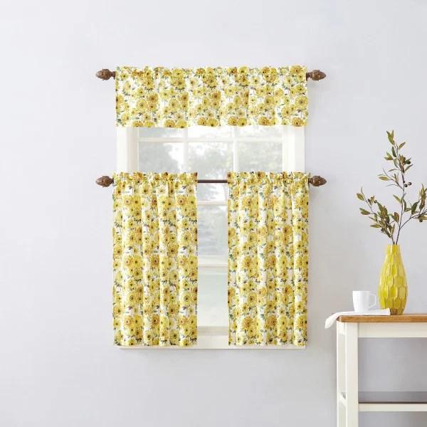 mainstays sunflower 3 piece kitchen curtain tier and valance set