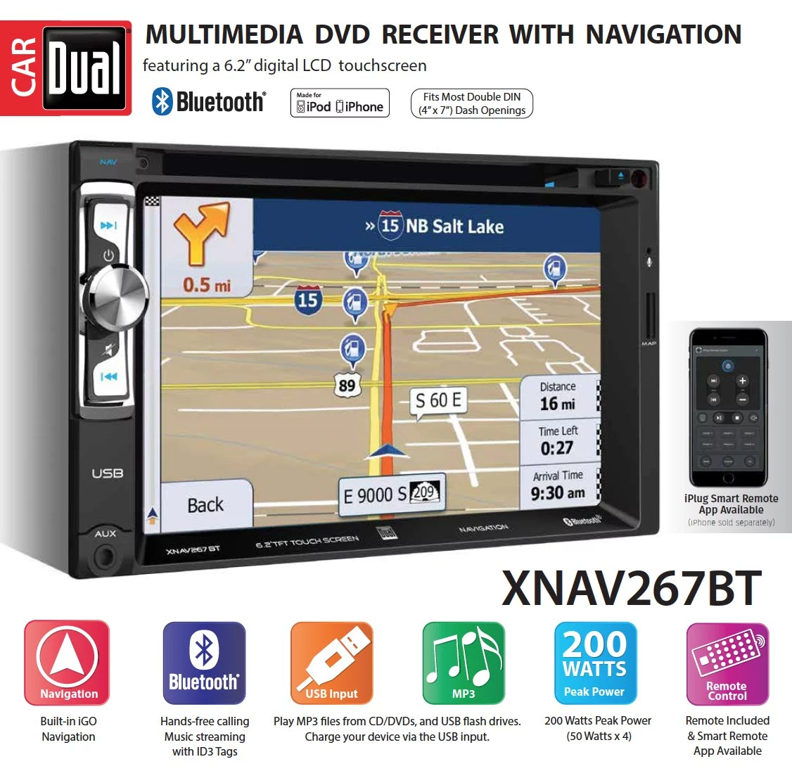 hight resolution of dual electronics xnav267bt 6 2 inch led backlit lcd multimedia touch screen double din car stereo with built in navigation bluetooth iplug smart app
