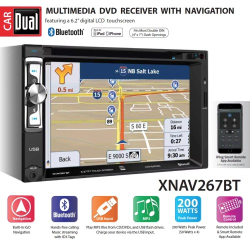 small resolution of dual electronics xnav267bt 6 2 inch led backlit lcd multimedia touch screen double din car stereo with built in navigation bluetooth iplug smart app