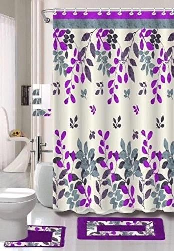 hinata purple gray leaf 15 piece bathroom accessory set 2 bath mats shower curtain 12 fabric covered rings