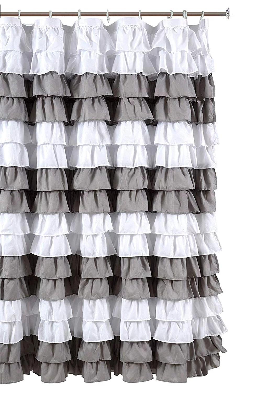 waterfall ruffled nautical stripe fabric shower curtain white silver