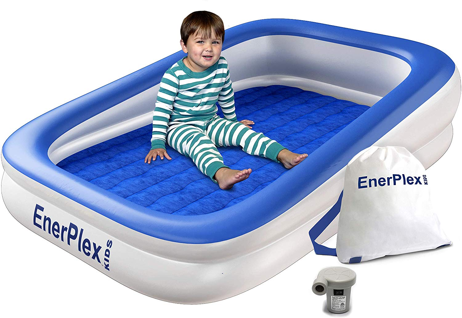 Enerplex Kids Inflatable Travel Bed With High Speed Pump Portable Air Mattress For Kids Blow Up Mattress With Sides Built In Safety Bumper Blue 2 Year Warranty Walmart Com Walmart Com