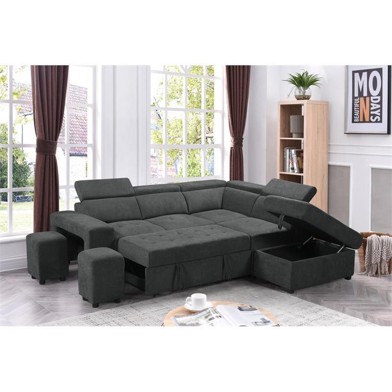 henrik dark gray sleeper sectional sofa with storage ottoman and 2 stools