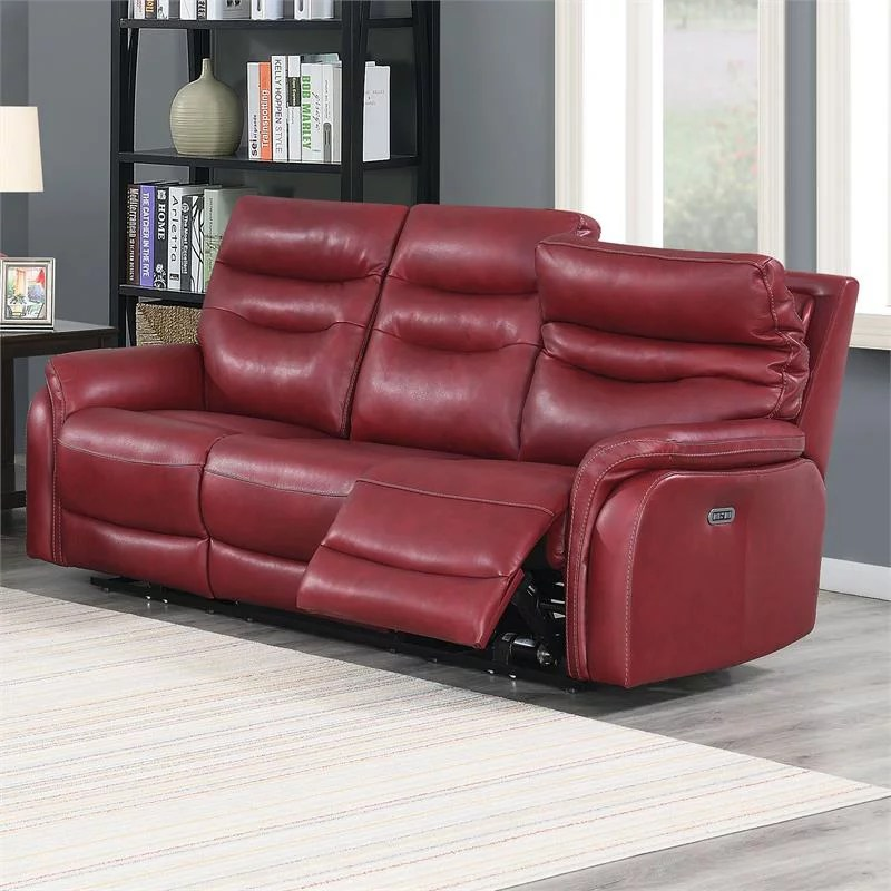 fortuna dark red leather power recliner sofa