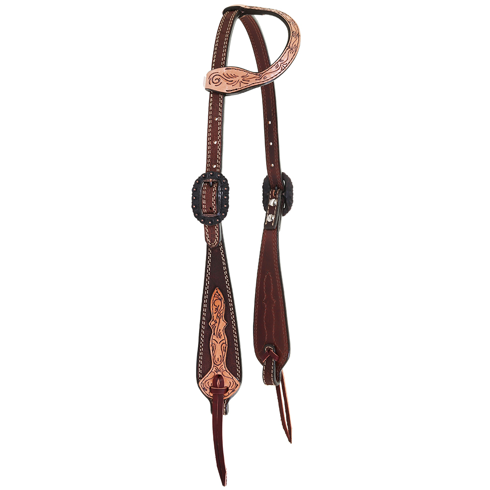 Double J Saddlery Tack Double J Saddlery Single Ear Chocolate Roughout with Tooled Cheek and Ear Headstall