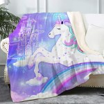 Bonsai Tree Unicorn Blanket Cute Rainbow Fuzzy Soft Cozy Warm Sherpa Throw Blanket For Kids Girls Women Thick Magic Castle Purple Pink Crystal Velvet Blanket For Couch Bed Living Room 50 X60