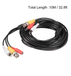 10m black bnc rca dc video power extension wire cable for security camera cctv [ 1100 x 1100 Pixel ]