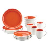Rachael Ray Rise Stoneware 16-Piece Dinnerware Set, Orange ...