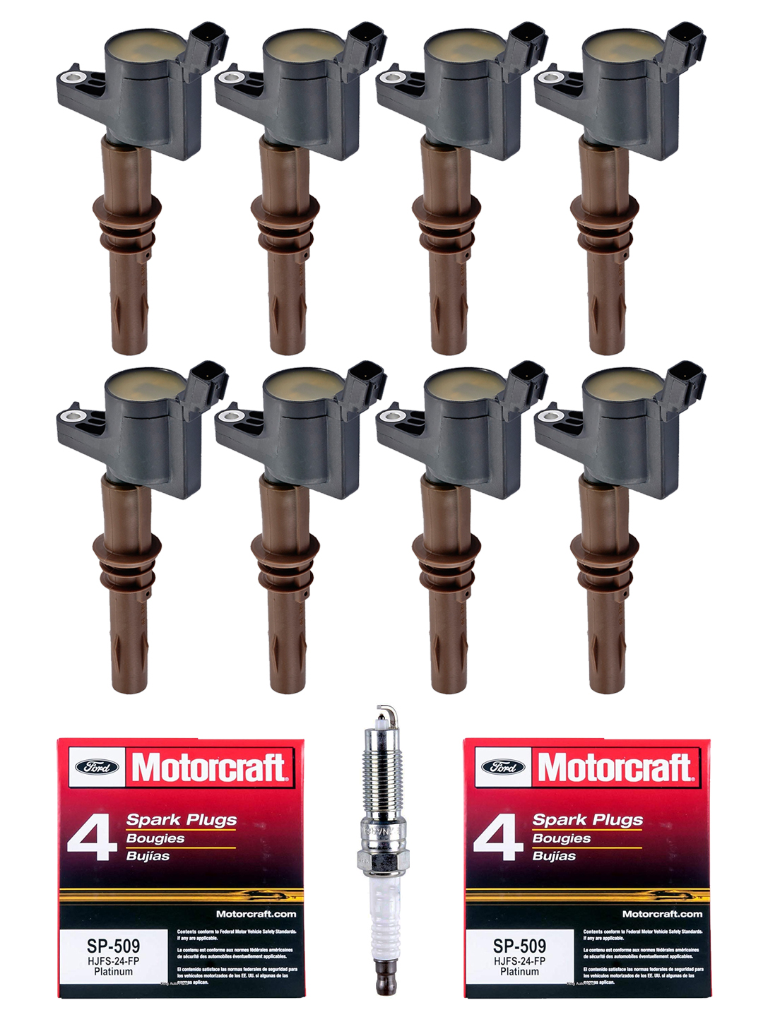 hight resolution of set of 8 ignition coils with brown boot motorcraft spark plugs sp509 for 2008 2014 lincoln navigator 5 4l v8 walmart com