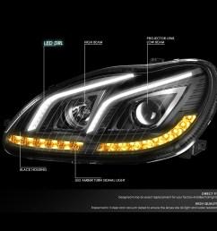 for 2000 to 2006 mercedes s class w220 led drl light bar amber turn signal projector headlight black housing headlamp 01 02 03 04 05 s65 amg walmart com [ 1200 x 1200 Pixel ]