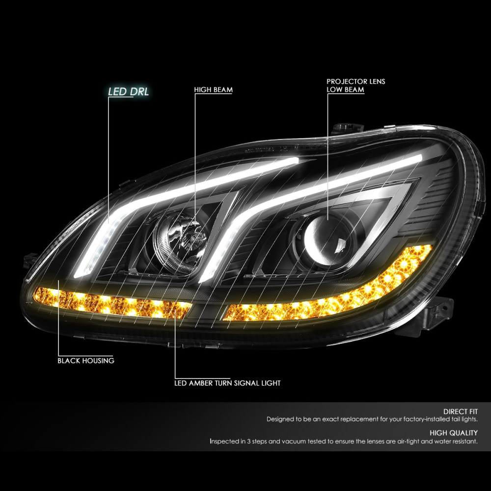 medium resolution of for 2000 to 2006 mercedes s class w220 led drl light bar amber turn signal projector headlight black housing headlamp 01 02 03 04 05 s65 amg walmart com