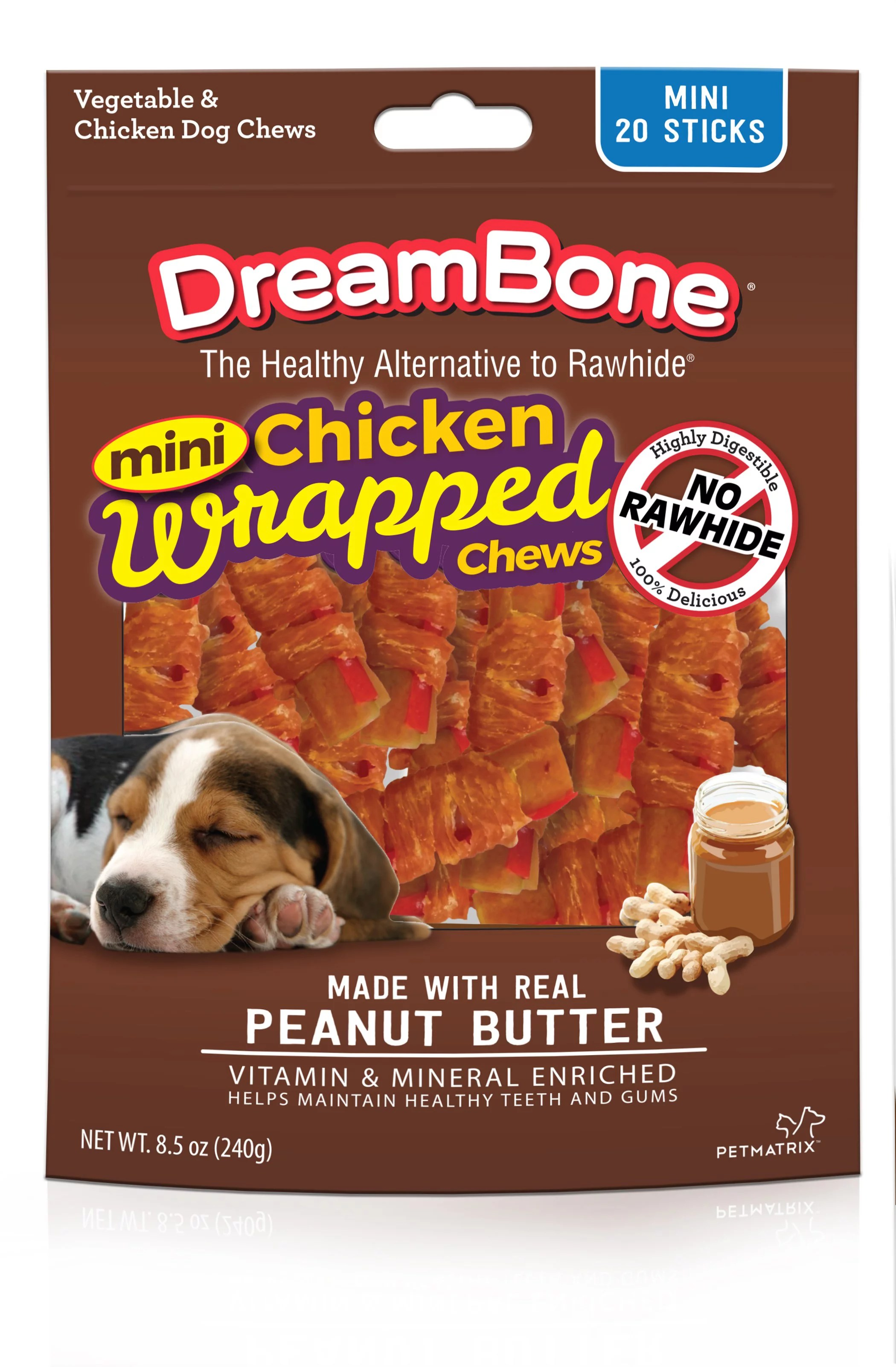 DreamBone Mini Chicken Wrapped Chews with Peanut Butter Rawhide-Free Dog Chews, 8.5 Oz. (20 Count)