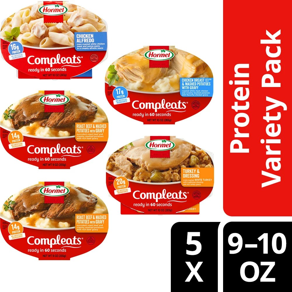 hormel compleats protein variety pack microwave meals pack of 5