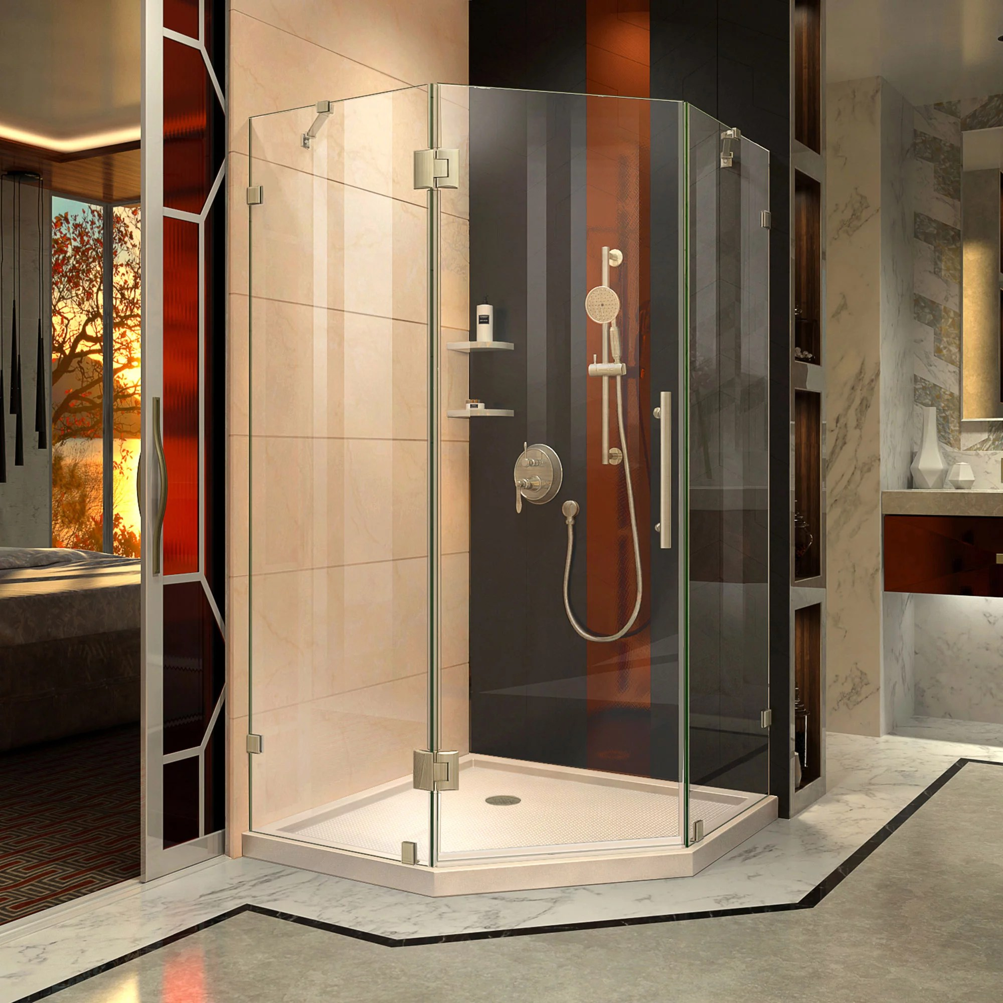 Dreamline Prism Lux 38 In X 74 3 4 In Fully Frameless Neo Angle Shower Enclosure In Brushed Nickel With Biscuit Base