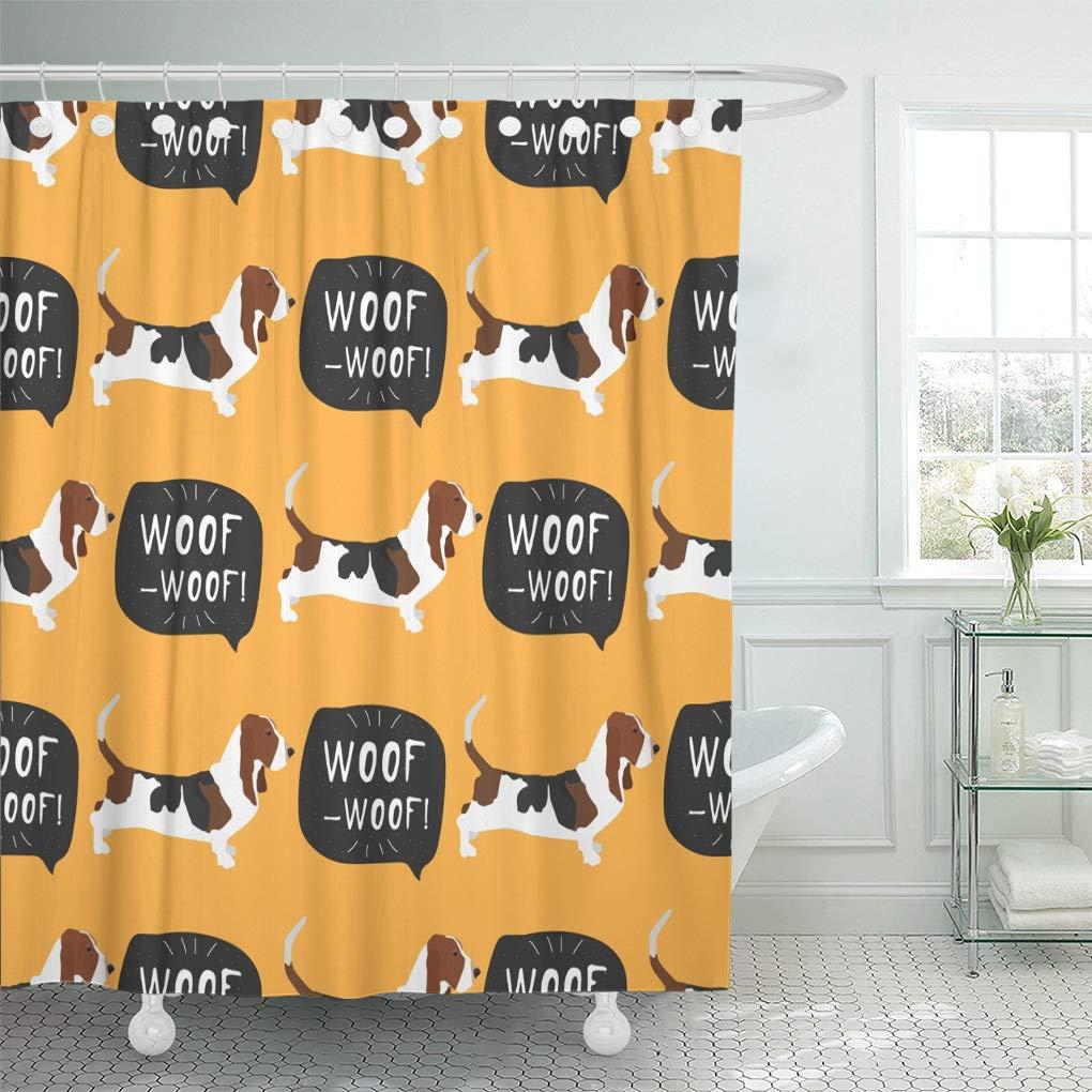 cynlon brown adorable basset hound dog french breed colorful bathroom decor bath shower curtain 60x72 inch