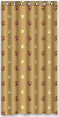 GreenDecor Dog Paw Prints Waterproof Shower Curtain Set