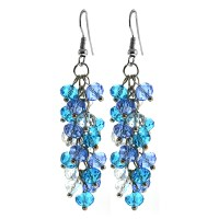 Ocean Blue Cluster Faceted Crystal Dangle Hook Earrings