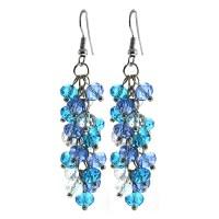 Ocean Blue Cluster Faceted Crystal Dangle Hook Earrings