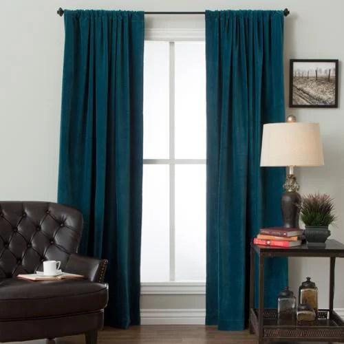 Cotton Velvet Rod Pocket Curtain Panel Teal 84 Inch