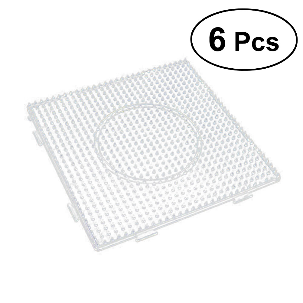 6pcs Large Square Fuse Beads Boards Clear Plastic