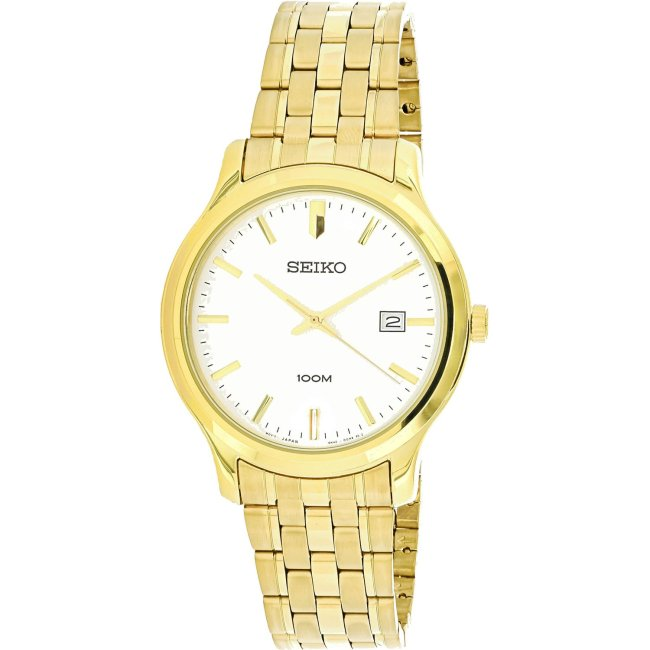 Seiko Men's Neo Classic SUR148 Gold Metal Quartz Fashion Watch
