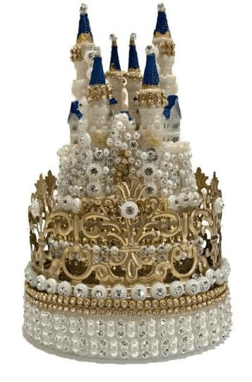 Crown Princess Castle Cake Topper Rhinestones Decoration For