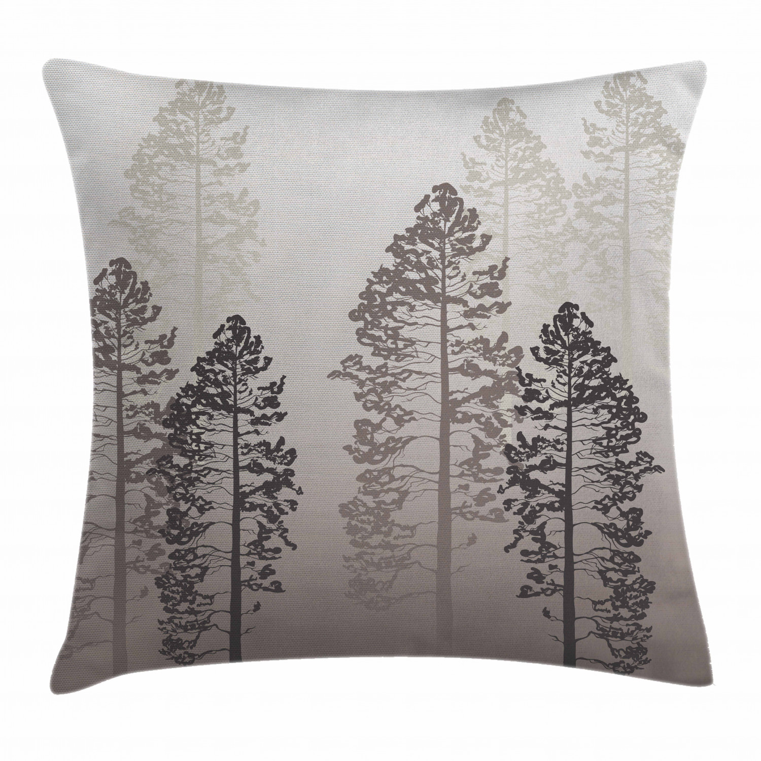 farmhouse decor throw pillow cushion cover pine trees in the forest on foggy ombre backdrop wildlife adventure artwork decorative square accent