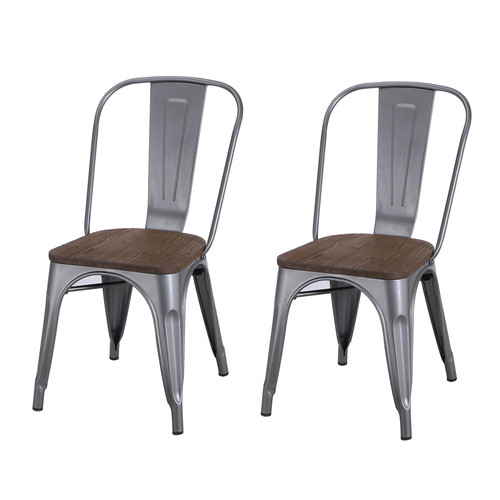 silver metal dining chairs walmart papasan chair adeco tolix style matte grey bistro wooden seat set of 2 com