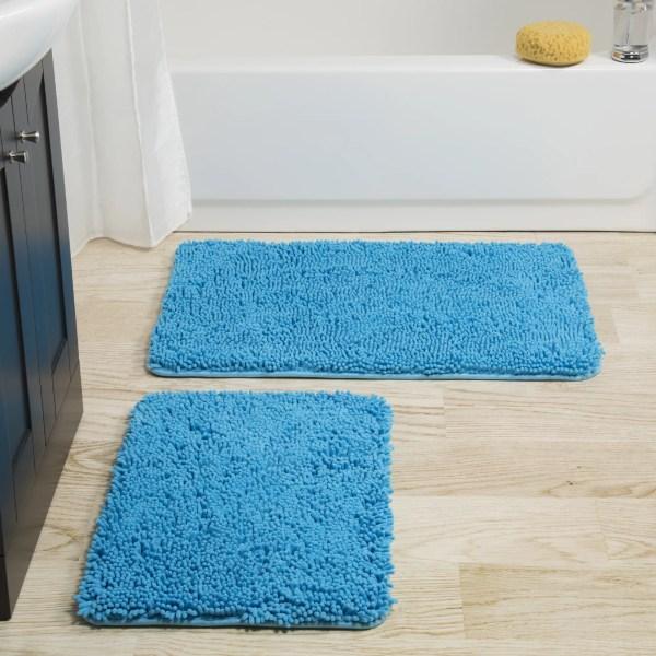 Somerset Home 2 Piece Memory Foam Bath Mat - Blue