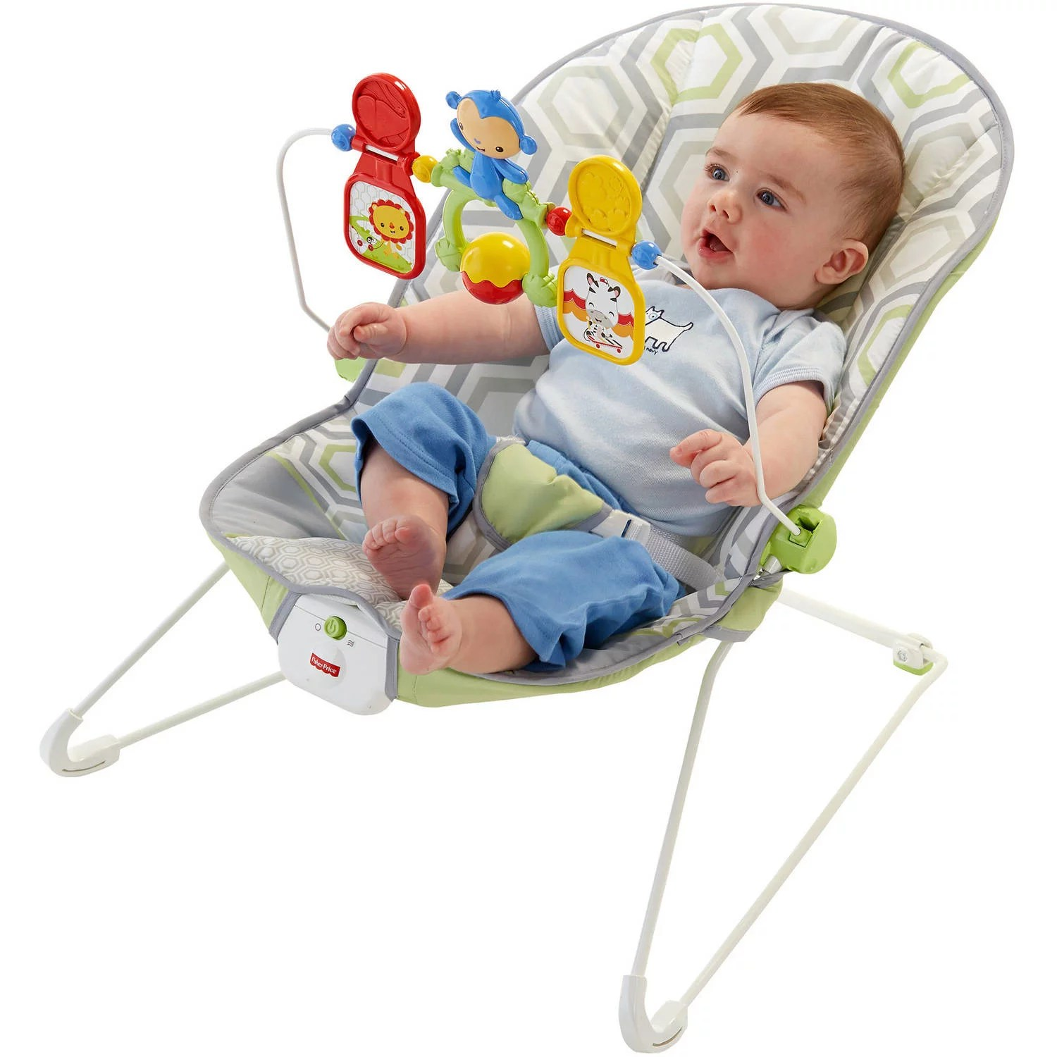 infant bouncy chair fishing chairs argos fisher price baby s bouncer with removable toy bar geo meadow walmart com